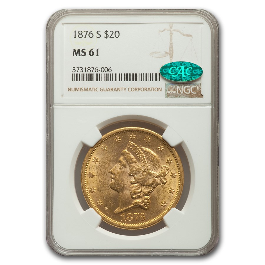 1876-S $20 Liberty Gold Double Eagle MS-61 NGC CAC