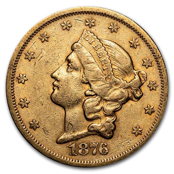 1876-S $20 Liberty Gold Double Eagle XF