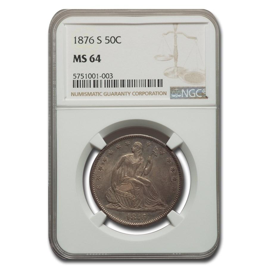 1876-S Liberty Seated Half Dollar MS-64 NGC