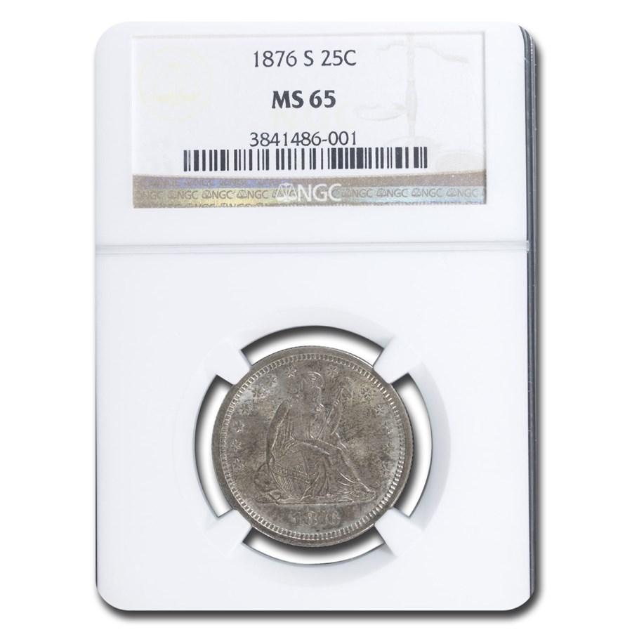1876-S Liberty Seated Quarter MS-65 NGC
