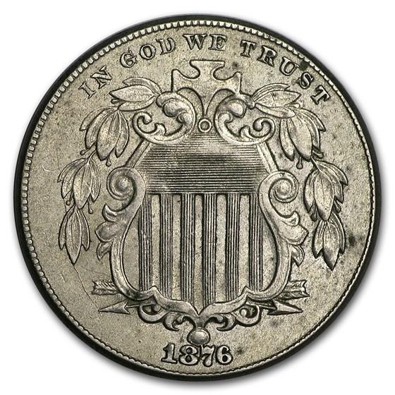 1876 Shield Nickel AU
