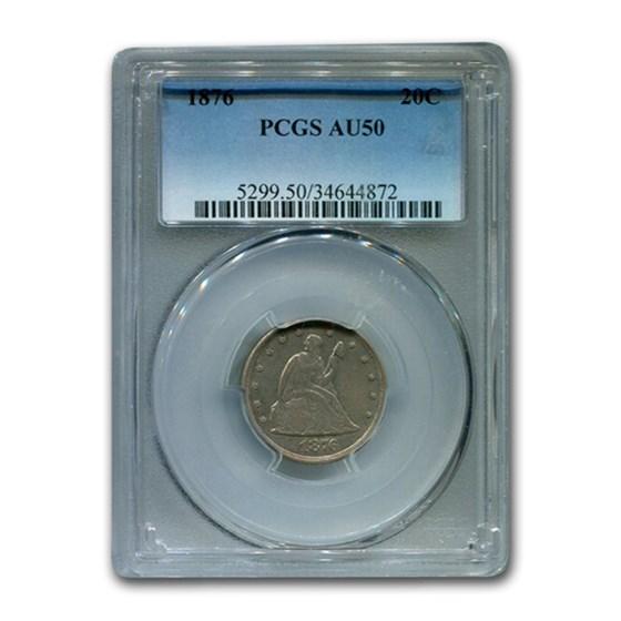 1876 Twenty Cent Piece AU-50 PCGS