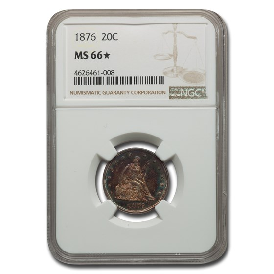 1876 Twenty Cent Piece MS-66* NGC