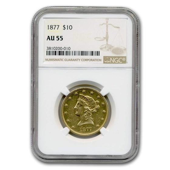 1877 $10 Liberty Gold Eagle AU-55 NGC