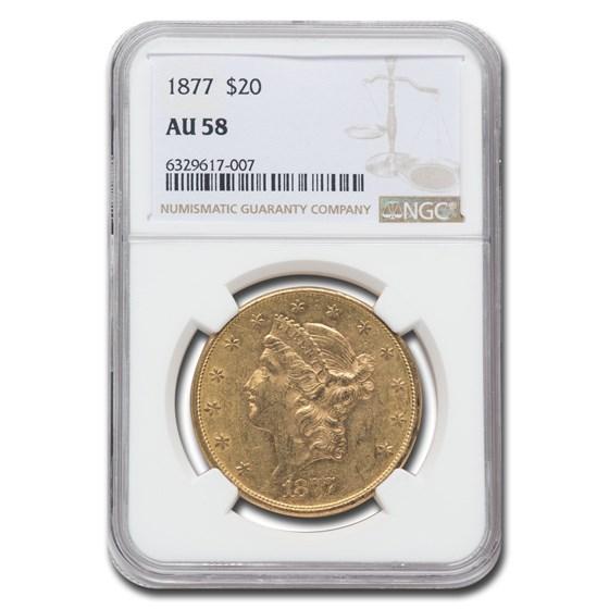 1877 $20 Liberty Gold Double Eagle AU-58 NGC
