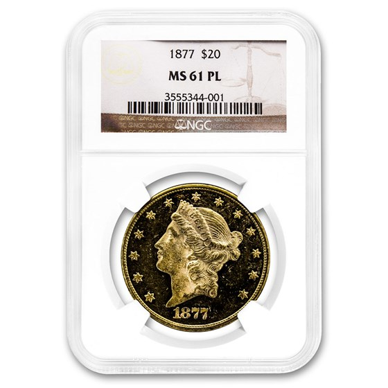 1877 $20 Liberty Gold Double Eagle MS-61 NGC (PL)