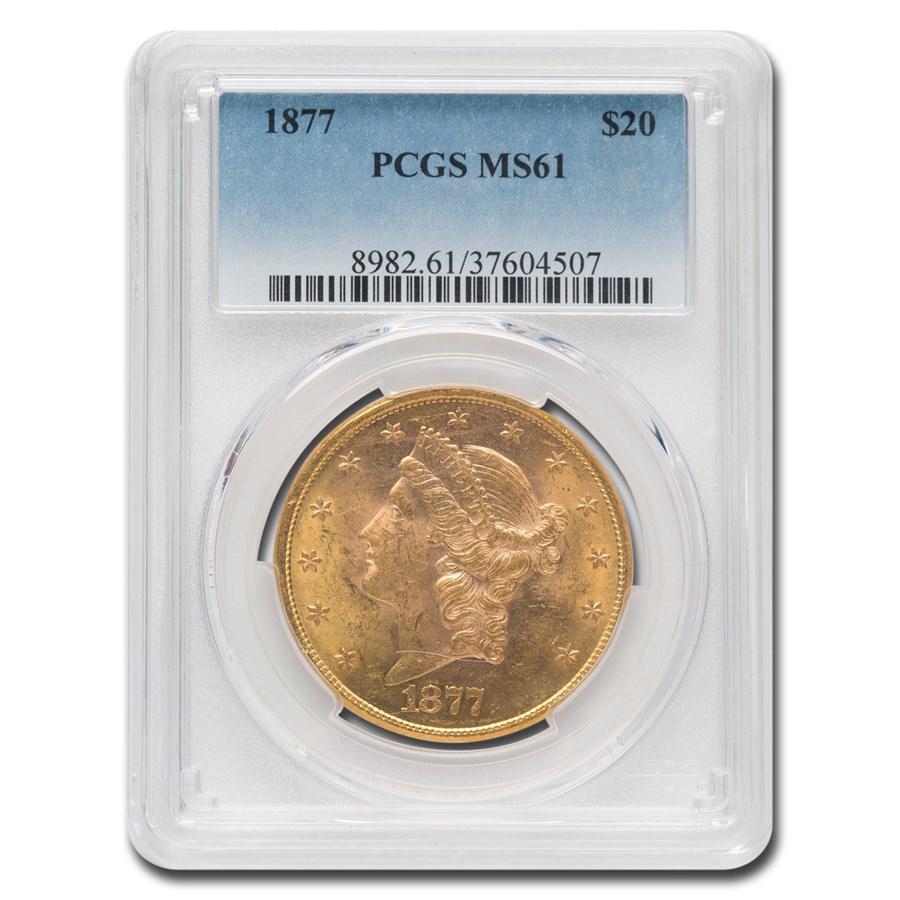 1877 $20 Liberty Gold Double Eagle MS-61 PCGS