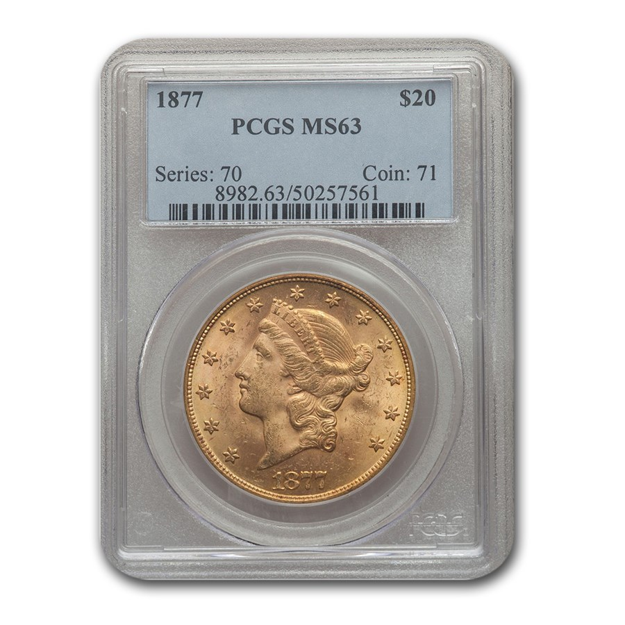 1877 $20 Liberty Gold Double Eagle MS-63 PCGS
