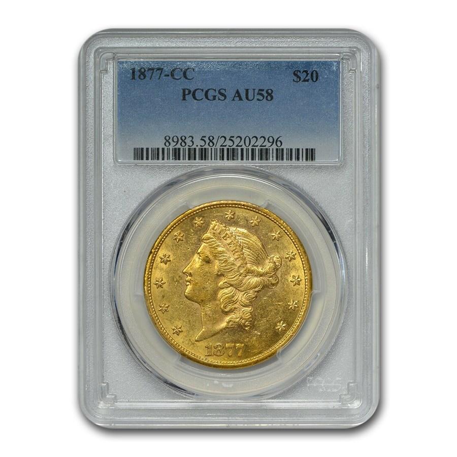 1877-CC $20 Liberty Gold Double Eagle AU-58 PCGS