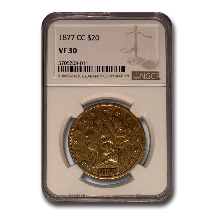 1877-CC $20 Liberty Gold Double Eagle VF-30 NGC