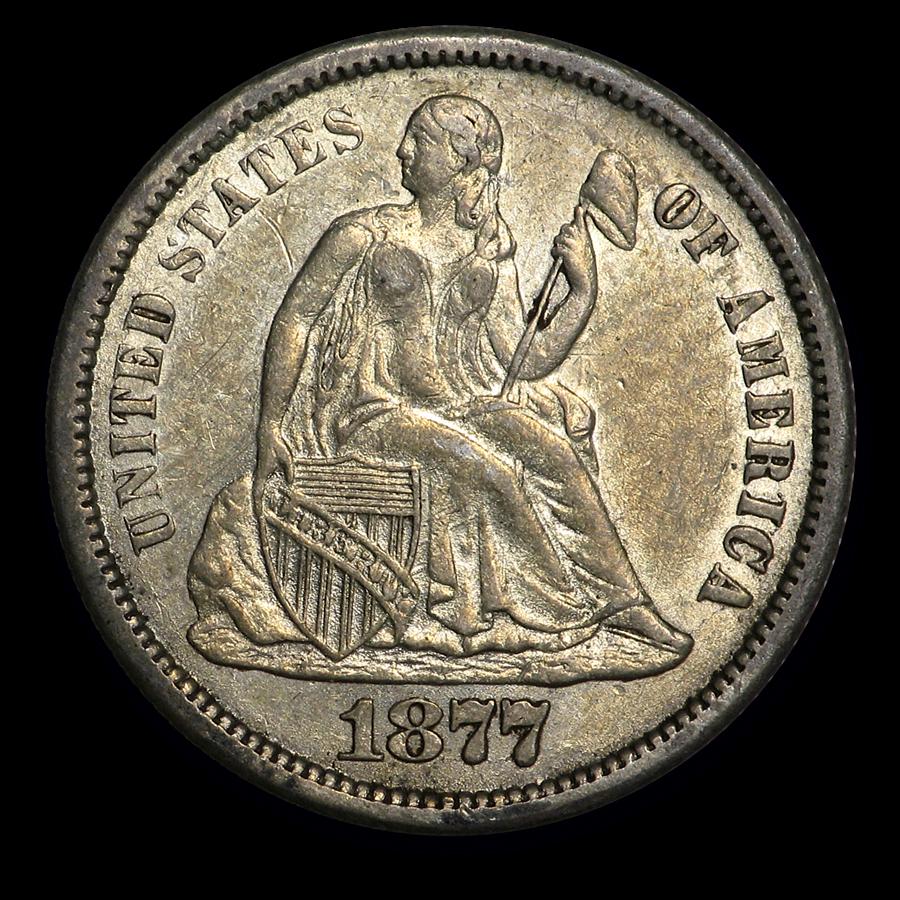 1877-CC Liberty Seated Dime AU