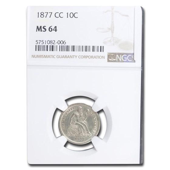 1877-CC Liberty Seated Dime MS-64 NGC