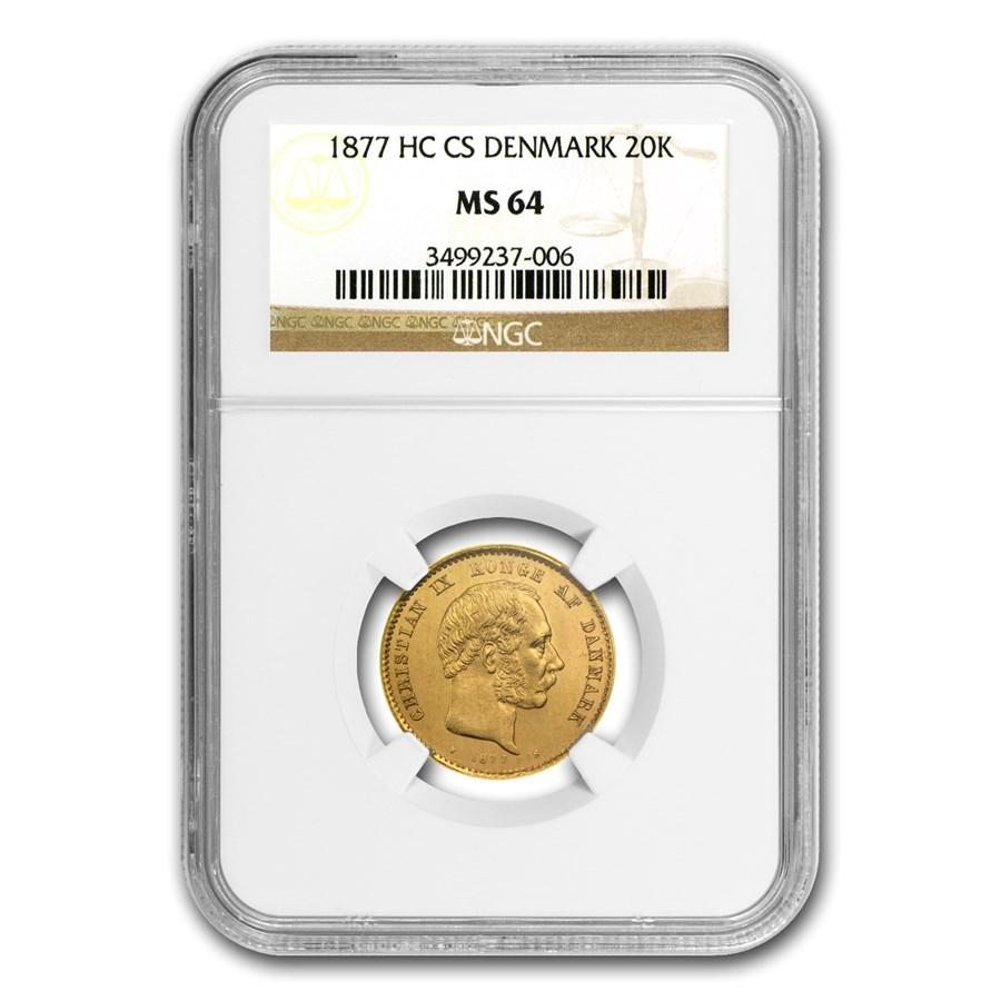 1877 Denmark Gold 20 Kroner MS-64 NGC