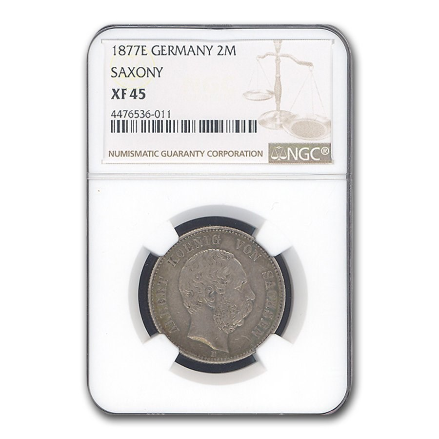 1877-E Germany 2 Mark Saxony Albert XF-45 NGC