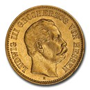 1877 German States Hesse-Darmstadt Gold 5 Mark AU-58 NGC
