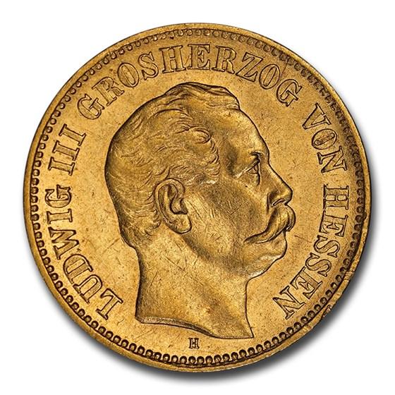 1877 German States Hesse-Darmstadt Gold 5 Mark AU-58 NGC
