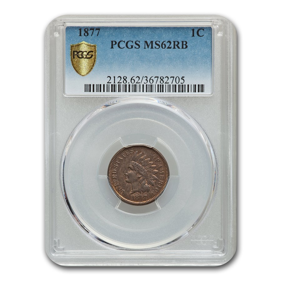 1877 Indian Head Cent MS-62 PCGS (Red/Brown)