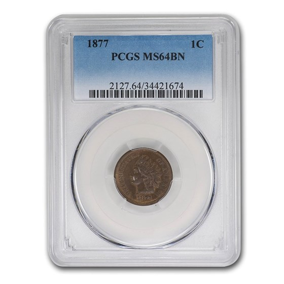 1877 Indian Head Cent MS-64 PCGS (Brown)