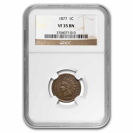 1877 Indian Head Cent VF-35 NGC (Brown)