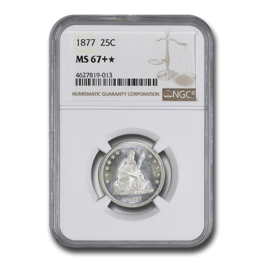 1877 Liberty Seated Quarter MS-67+* NGC