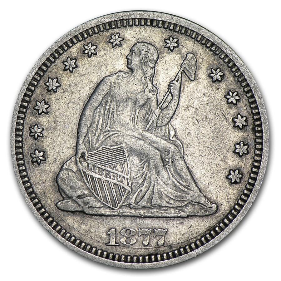 1877 Liberty Seated Quarter XF