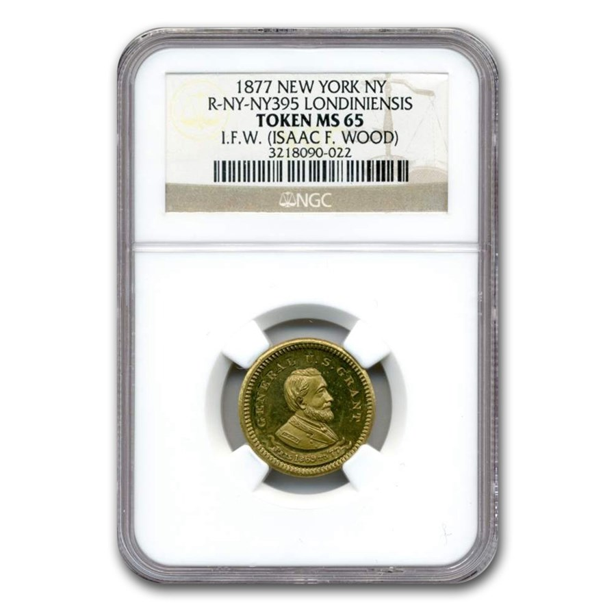 1877 New York Token MS-65 NGC (R-NY 395, Londiniensis)