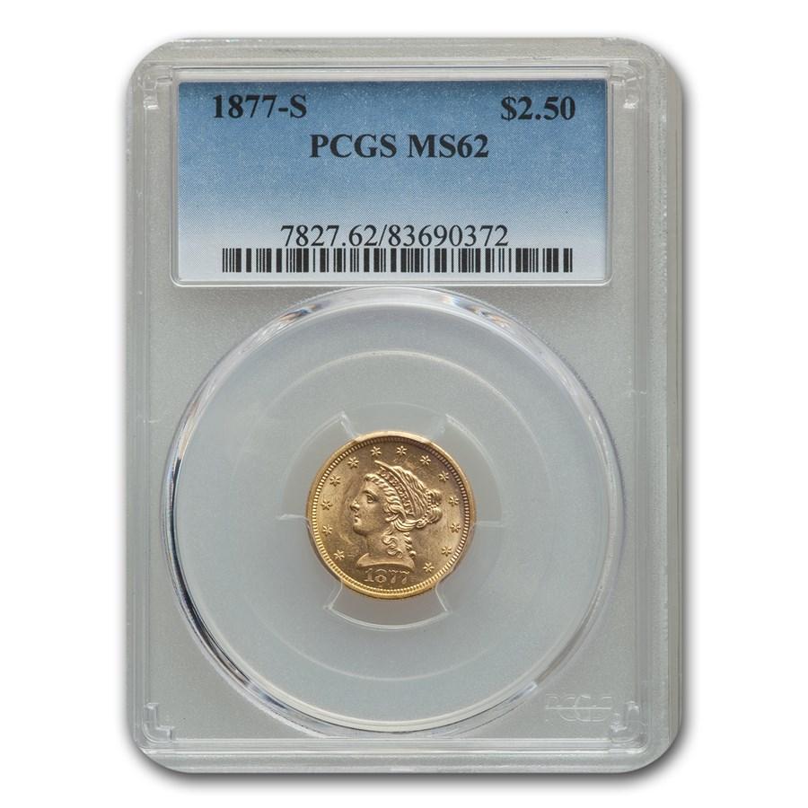 1877-S $2.50 Liberty Gold Quarter Eagle MS-62 PCGS