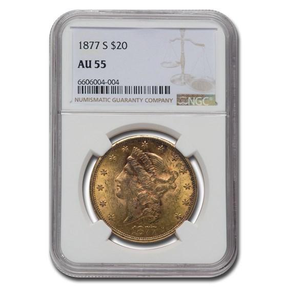 1877-S $20 Liberty Gold Double Eagle AU-55 NGC
