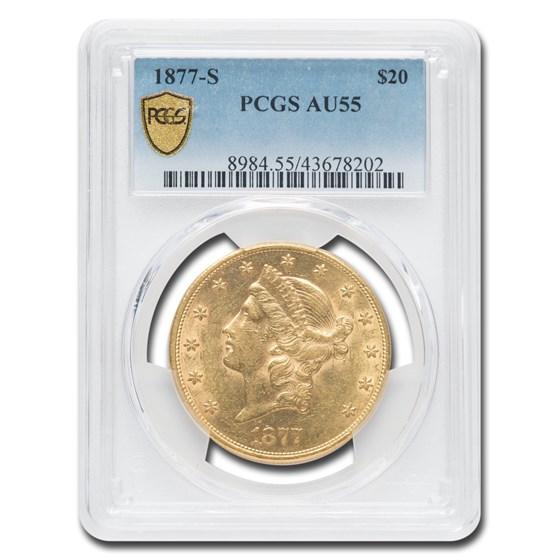 1877-S $20 Liberty Gold Double Eagle AU-55 PCGS