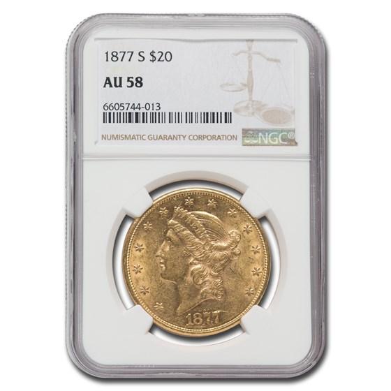 1877-S $20 Liberty Gold Double Eagle AU-58 NGC