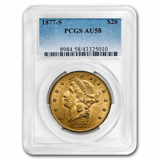 1877-S $20 Liberty Gold Double Eagle AU-58 PCGS