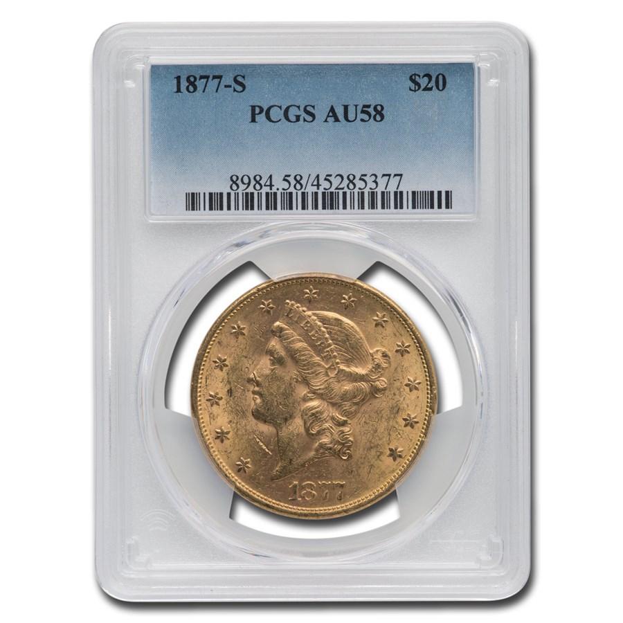 1877-S $20 Liberty Gold Double Eagle AU-58 PCGS