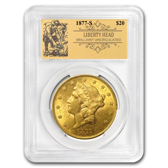 1877-S $20 Liberty Gold Double Eagle BU PCGS (Prospector Label)