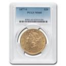 1877-S $20 Liberty Gold Double Eagle MS-60 PCGS