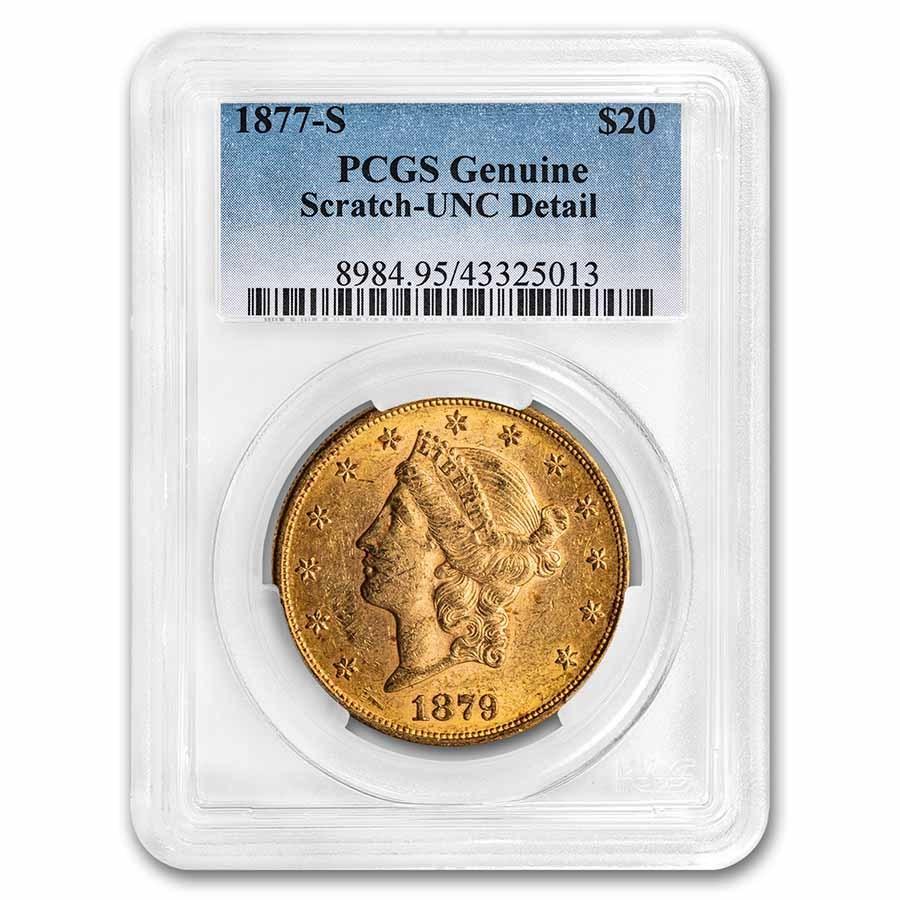 1877-S $20 Liberty Gold Double Eagle UNC Details PCGS