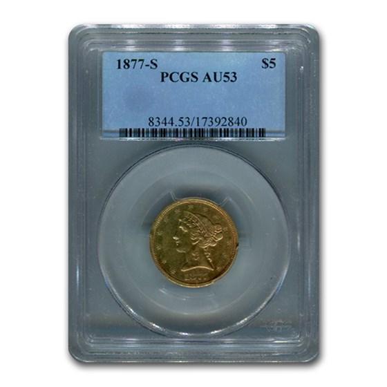 1877-S $5 Liberty Gold Half Eagle AU-53 PCGS
