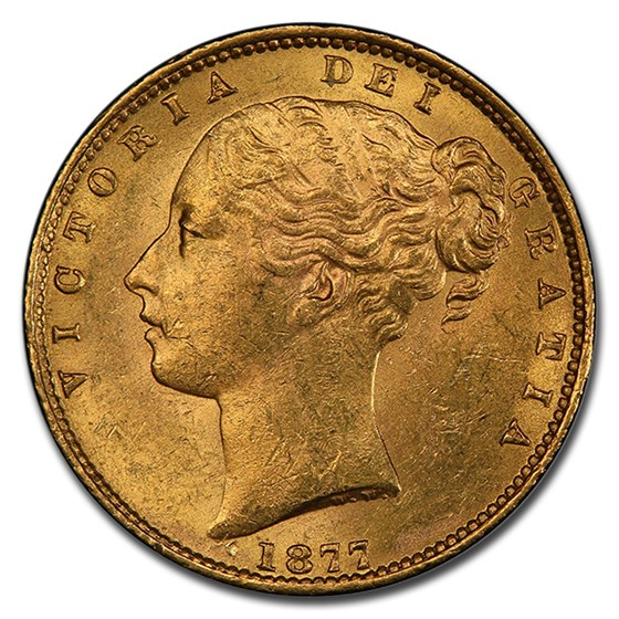 1877-S Australia Gold Sovereign Young Victoria MS-62+ PCGS