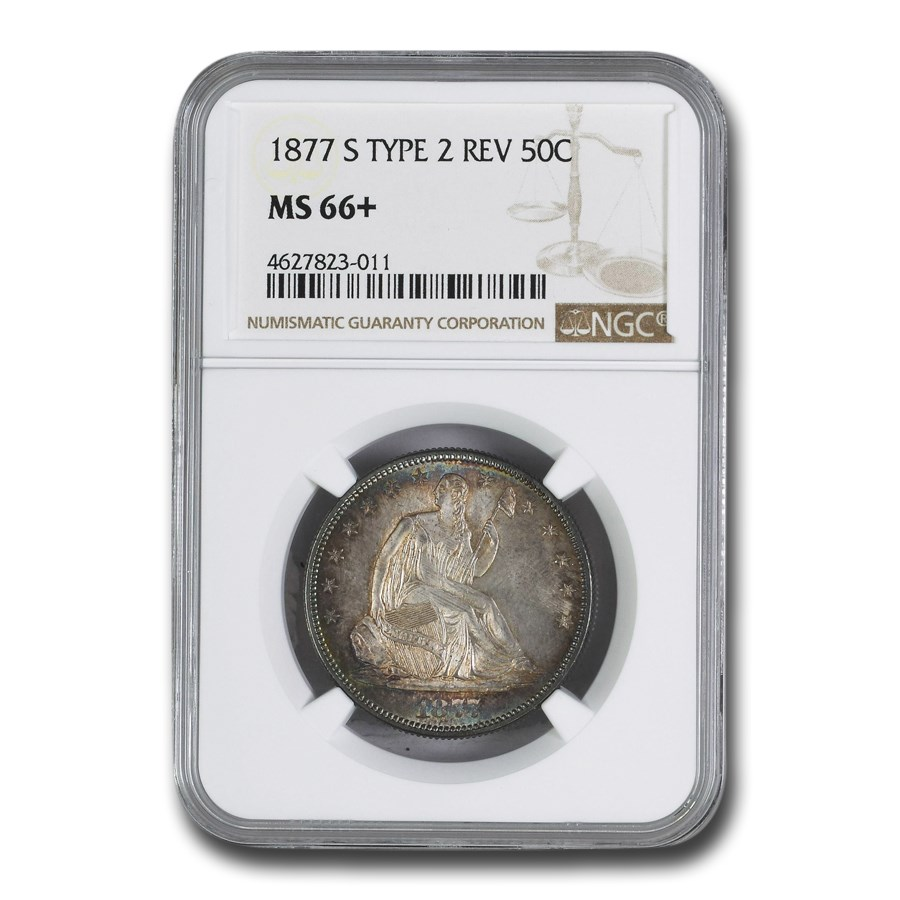 1877-S Liberty Seated Half Dollar MS-66+ NGC (Type-II Rev.)