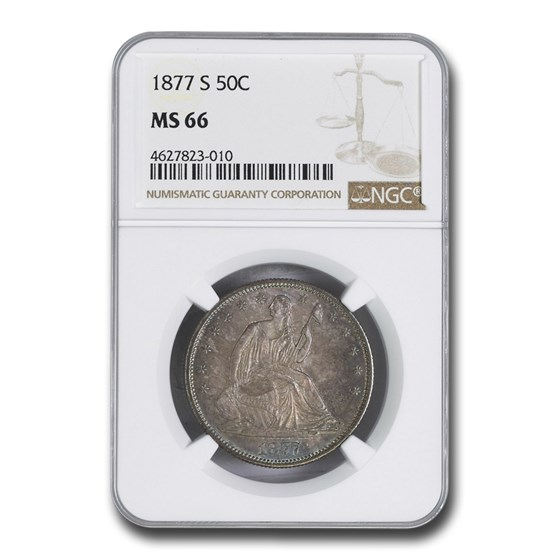 1877-S Liberty Seated Half Dollar MS-66 NGC