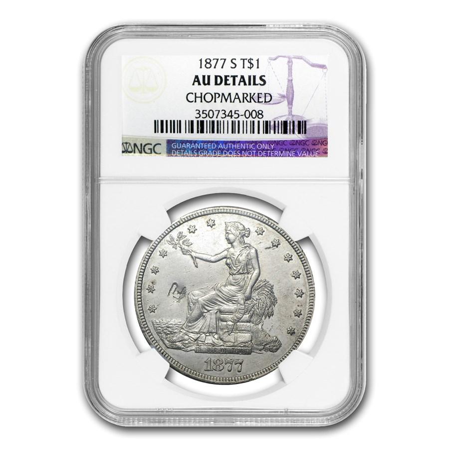 1877-S Trade Dollar AU Details NGC (Chopmark)
