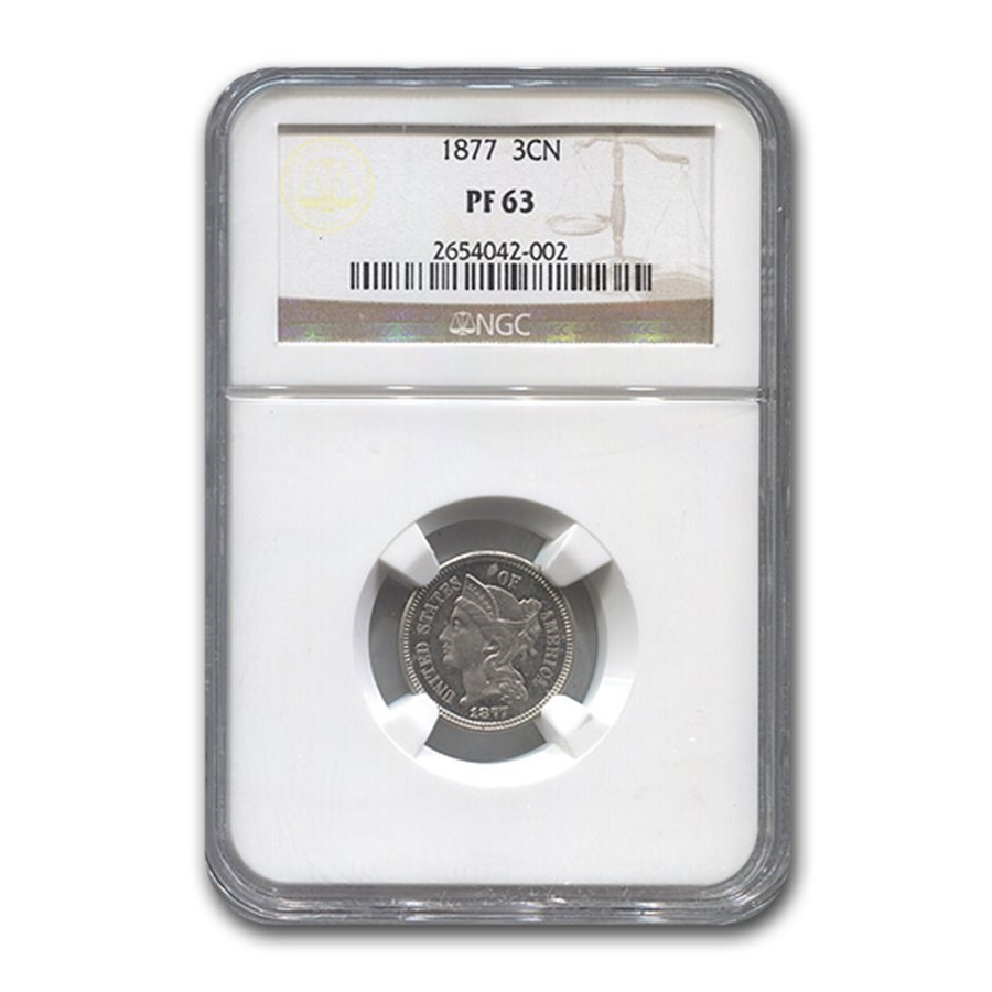 1877 Three Cent Nickel PF-63 NGC