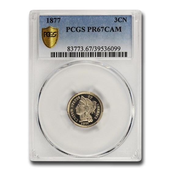 1877 Three Cent Nickel PR-67 Cameo PCGS