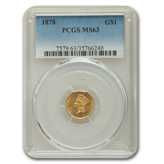 1878 $1 Indian Head Gold MS-63 PCGS