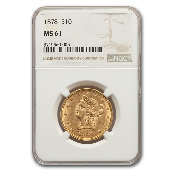 1878 $10 Liberty Gold Eagle MS-61 NGC
