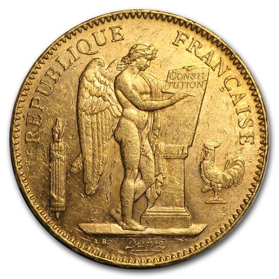 1878-1904 France Gold 50 Francs Angel Avg Circ
