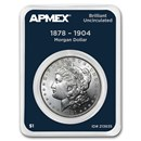1878-1904 Morgan Silver Dollar APMEX Card BU (Random Year)