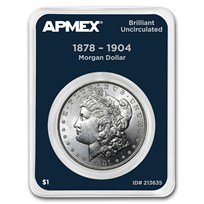 1878-1904 Morgan Silver Dollar APMEX Card BU (Random Year)