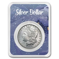 1878-1904 Morgan Silver Dollar Winter Scene Card BU (Random Year)