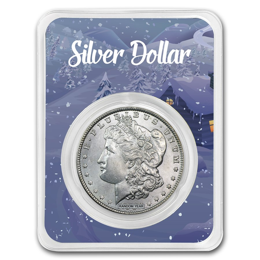 1878-1904 Morgan Silver Dollar Winter Scene Card BU (Random Year)