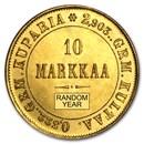 1878-1913 Finland Gold 10 Markkaa (Avg Circ)